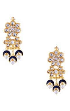 Just Jewellery Blue semi-precious stones gold plated earrings