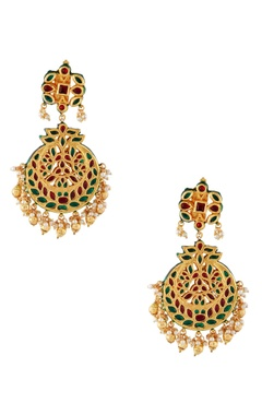Just Jewellery Red semi-precious stones gold plated earrings