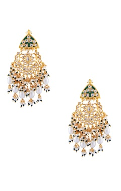 Just Jewellery Green semi-precious stones gold plated chaandbalis