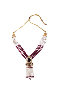 Just Jewellery Red semi-precious stones gold plated necklace