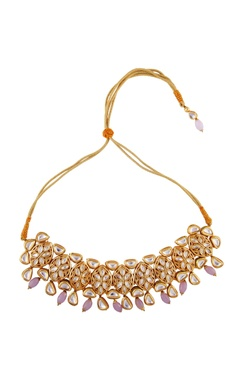 Just Jewellery Pink semi-precious stones gold plated choker necklace