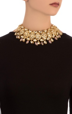 Pink semi-precious stones gold plated choker necklace