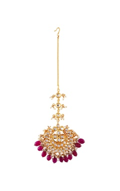 Just Jewellery Red semi-precious stones gold plated maangtikka