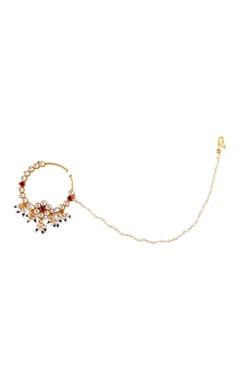 Just Jewellery Red semi-precious stones gold plated nose ring