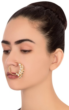 Green semi-precious stones gold plated nose ring