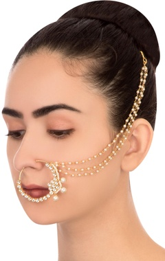 Gold semi-precious stones nose ring
