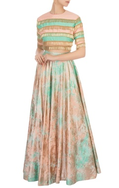 Peach & green stripe blouse with tie-dye lehenga