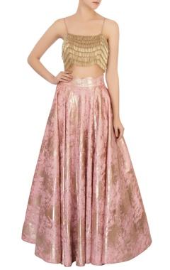 Pink foil lehenga & gold tassel blouse