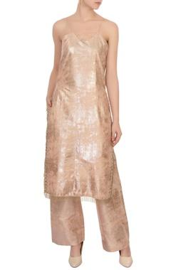 beige foil work kurta & pants