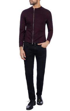Vikram Bajaj Wine cotton lycra dotted bomber jacket