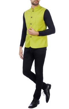 Vikram Bajaj Citrine superfine wool solid nehru jacket