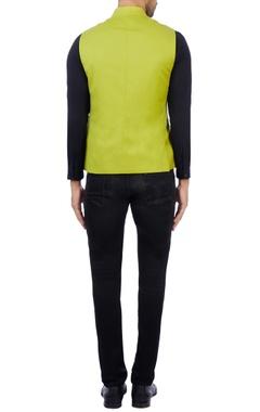 Citrine superfine wool solid nehru jacket
