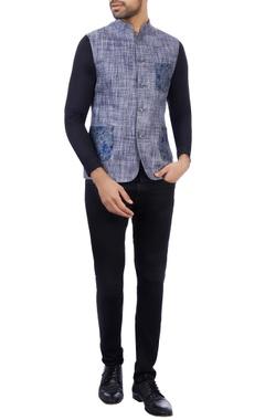 Vikram Bajaj Blue & grey linen textured nehru jacket