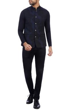 Vikram Bajaj Black & navy blue satin silk embroidered nehru jacket