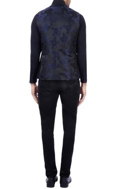 Black & navy blue satin silk embroidered nehru jacket