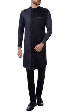 Vikram Bajaj Black & charcoal cotton satin color-blocked kurta