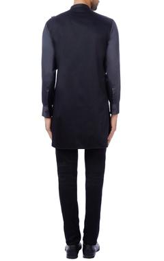 Black & charcoal cotton satin color-blocked kurta