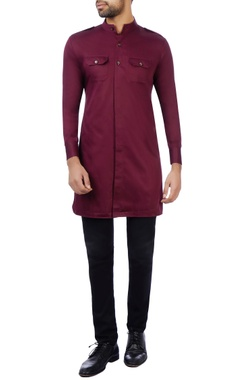 Vikram Bajaj Marsala cotton silk solid kurta
