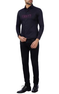 Vikram Bajaj Black & purple cotton embroidered shirt