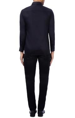 Black & purple cotton embroidered shirt