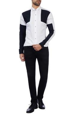 Vikram Bajaj Black & white cotton color-blocked shirt