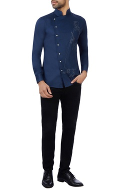 Vikram Bajaj Blue cotton embroidered shirt