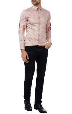 Vikram Bajaj Peach cotton checked shirt
