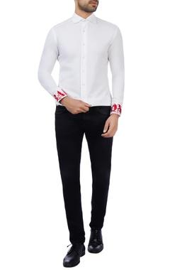 Vikram Bajaj White cotton embroidered shirt