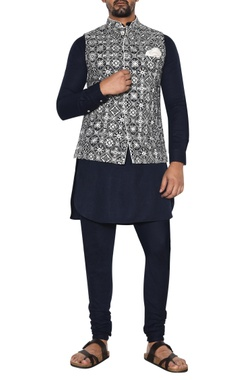 Arjan Dugal Blue & white embroidered jacket set