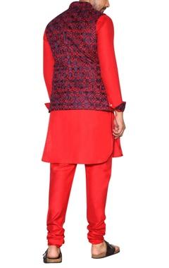 Red & blue embroidered jacket set