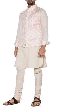 Arjan Dugal Pink & beige embroidered nehru jacket set