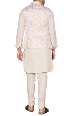 pink & beige embroidered nehru jacket set