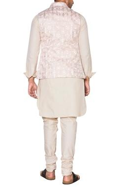 Pink & beige embroidered nehru jacket set
