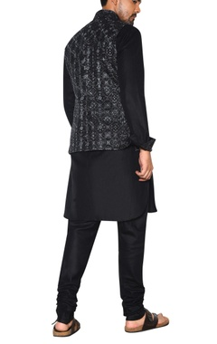black & grey embroidered nehru jacket set