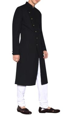Arjan Dugal Black cross-over sherwani