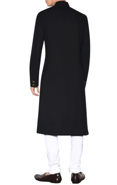 black cross-over sherwani