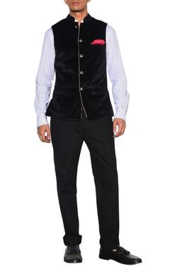Arjan Dugal Black velvet nehru jacket