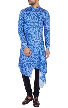 blue modal satin printed kurta and pant set