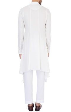 White modal satin solid kurta and pant set