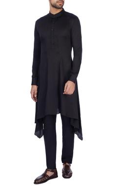 Dhruv Vaish Black modal satin solid kurta and pant set