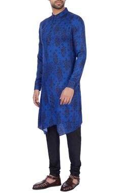 Dhruv Vaish Royal blue modal satin printed kurta and pant set
