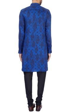Royal blue modal satin printed kurta and pant set