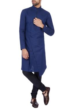 Dhruv Vaish Navy Blue linen cotton solid kurta