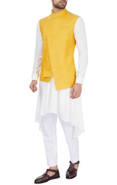 Dhruv Vaish Mustard yellow silk solid nehru jacket