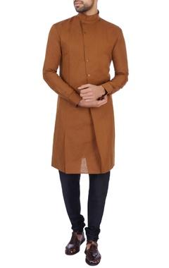 Dhruv Vaish Brown linen cotton solid kurta