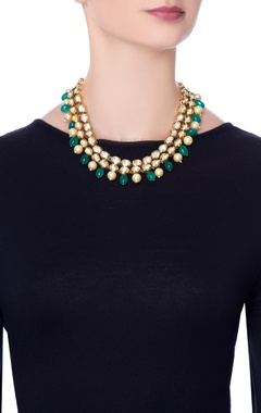 green bead & moti accent necklace