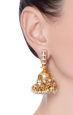 gold pearl finished earrings
