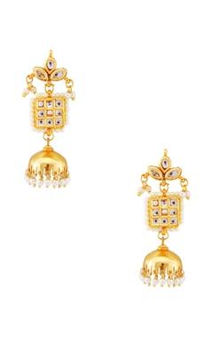 Just Shradha's Gold pearl jhumka earrings
