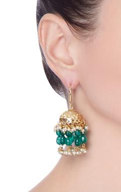 Green bead kundan earrings