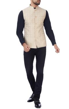 beige thread embroidered nehru jacket